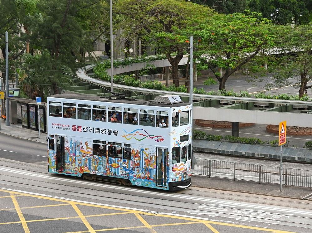 Artwork adds colour to a tram. (2021)