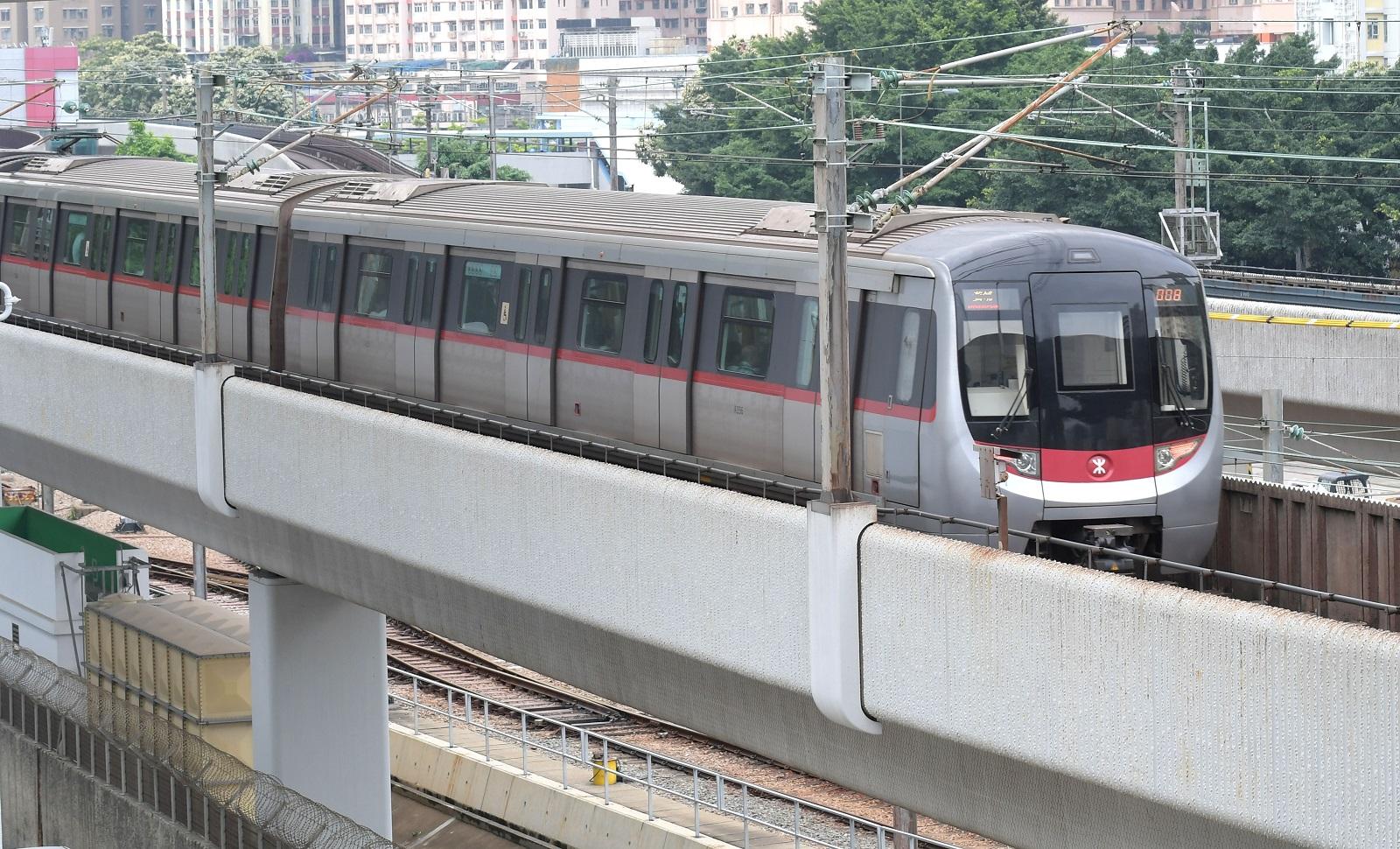 Mass Transit Railway (MTR) train in operation.  (2017)