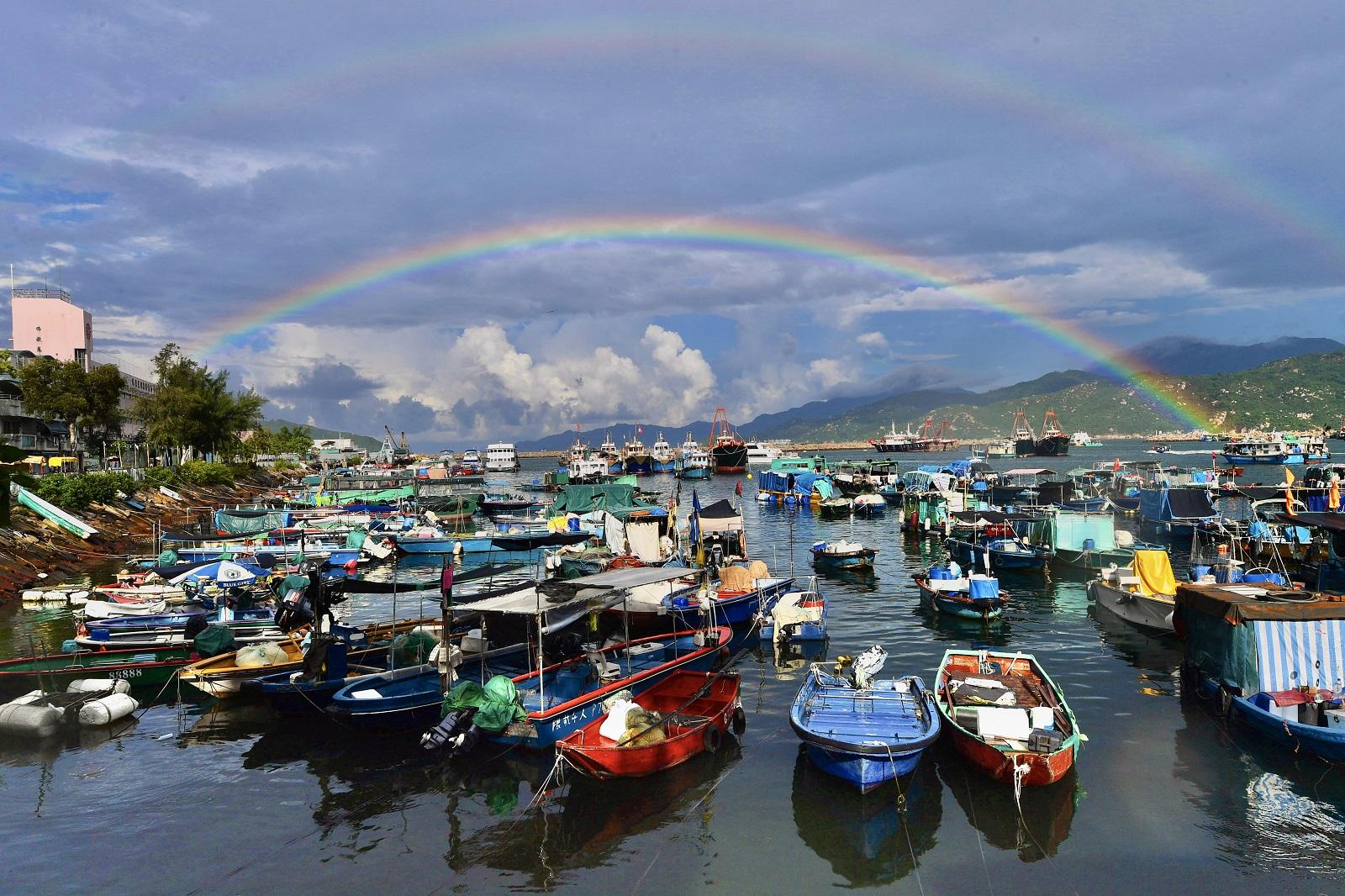 Rainbow over Cheung Chau island. (2020)